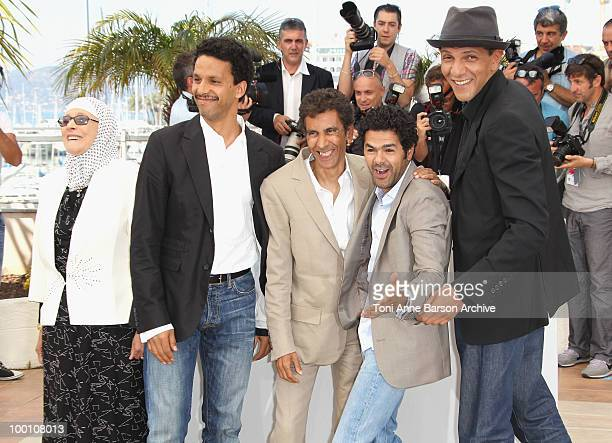 Chafia Boudraa Sami Bouajila Director Rachid Bouchareb Jamel Debbouze and Roschdy Zem attend the 'Outside the Law' Photo Call held at the Palais des...