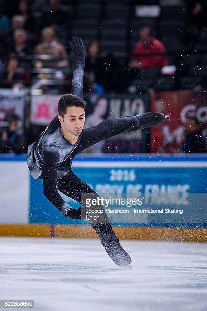 Chafik Besseghier of France competes during Men's Free Skating on day two of the Trophee de France ISU Grand Prix of Figure Skating at Accorhotels...