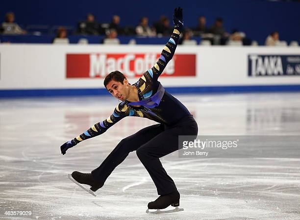 Chafik Besseghier of France competes in the Men Free Skating event of the ISU European Figure Skating Championships 2014 held at the Syma Hall...