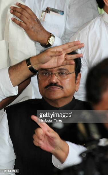 Chagan Bhujbal during the press conferance at the NCP office near Mantralaya as Ajit Pawar's name was unanimously accepted for the post of deputy...