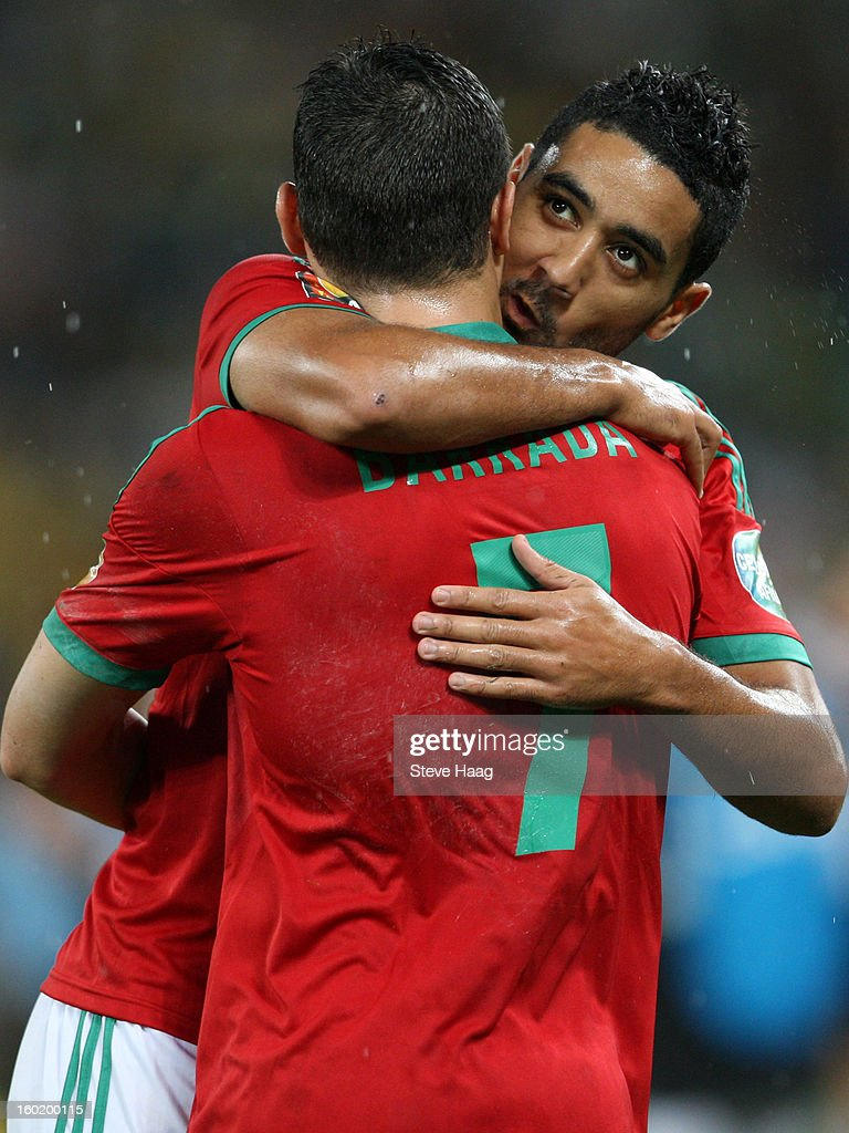 Chahir Belghazouani of Morocco gets the 1st goal and celebrate with Abdelaziz Barrada of Morocco during the 2013 African Cup of Nations match between Morocco and South Africa at Moses Mahbida Stadium on January 27, 2013 in Durban, South Africa.