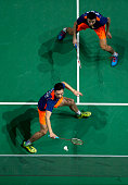 Chai Biao and Hong Wei of China in action in the Semifinal Men's Doubles match against Mathias Boe and Carsten Mogensen of Denmark uring day four of...