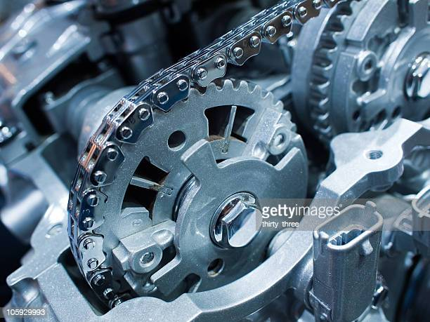 Chain and gears in the engine of car