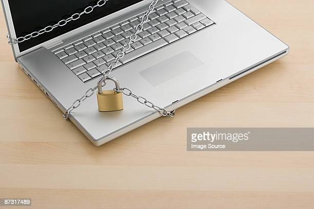 Chain and lock on laptop