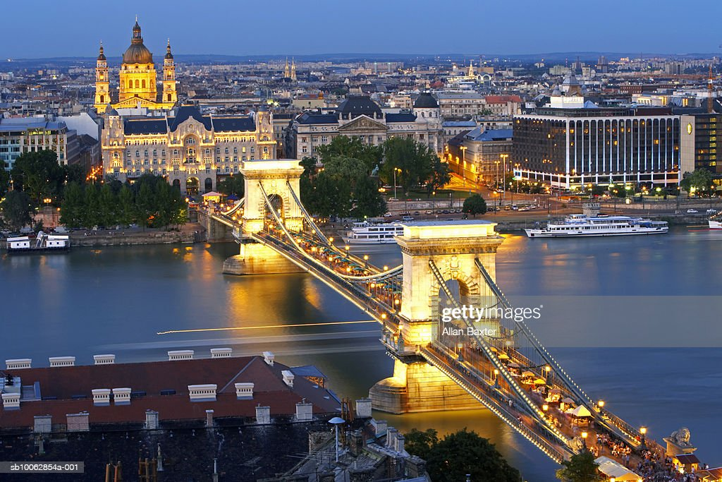 Chain bridge over river Danube, elevated view