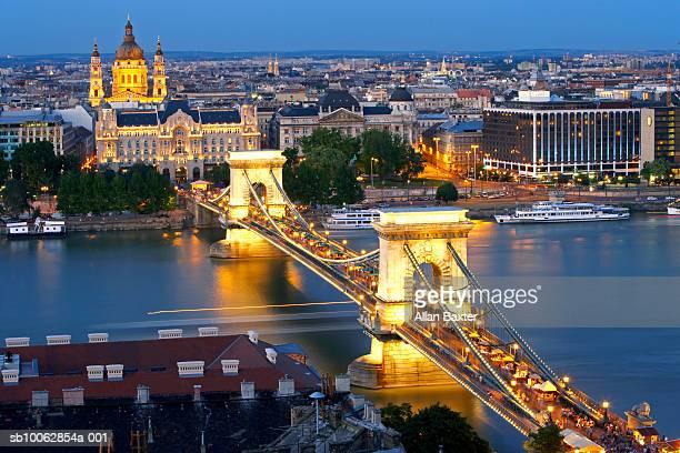 Chain bridge over river Danube, elevated view