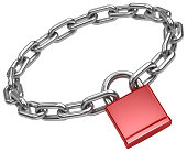padlock and chain in a circle. symbol of security. 3d render