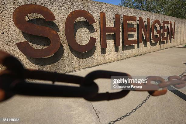 A chain hangs in front of a Schengen sign at the dock where the 1985 European Schengen Agreement was signed on May 11 2016 in Schengen Luxembourg The...