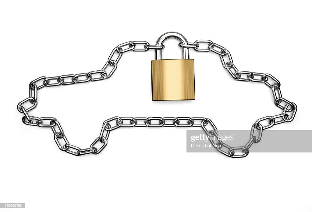 Chain in the shape of a car locked with a padlock : Stock Photo