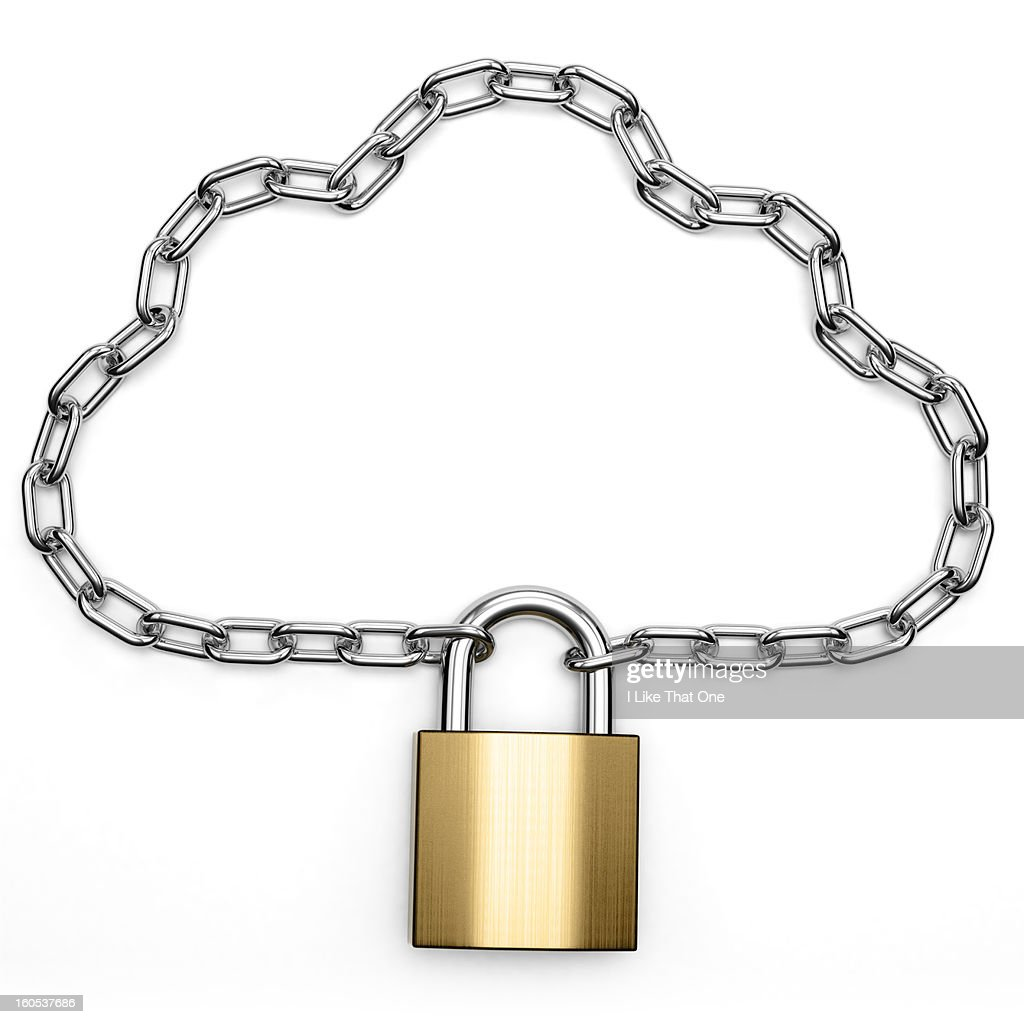 Chain in the shape of a cloud with a padlock : Stock Photo