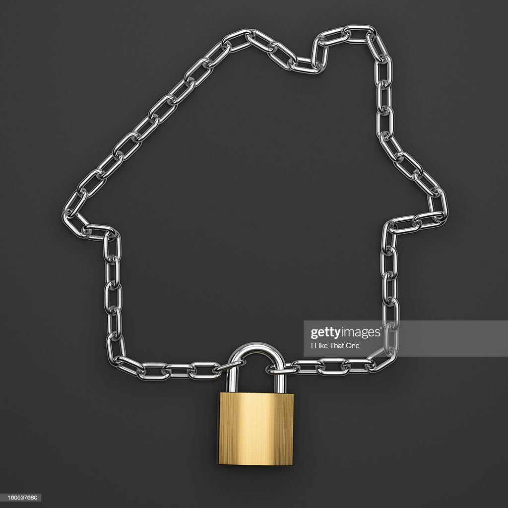 Chain in the shape of a house with a padlock