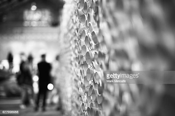 Chain link fence art is seen at MADE Sydney at Carriageworks on November 13 2016 in Sydney Australia