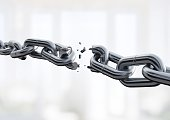 Broken metal chain on background