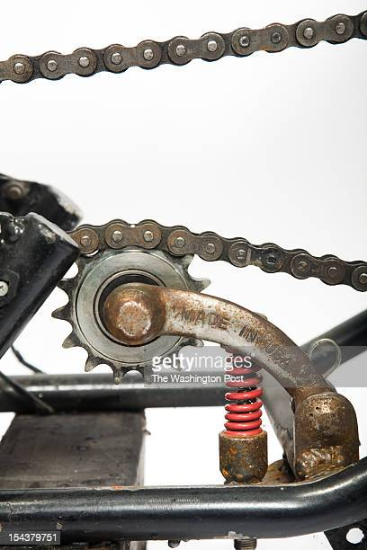 Chain Tensioner Made from Meat Grinder Handle on Customized 1972 Triumph T120 Motorcycle named 'Tesla' by Jeff Yarrington of Saint Motor Company on...