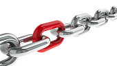 Chain with red link - concept particular person, three-dimensional rendering