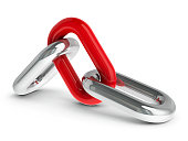Chain with red link - team cooperation concept, three-dimensional rendering