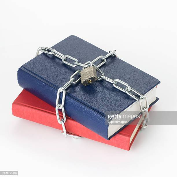 Chained stack of books