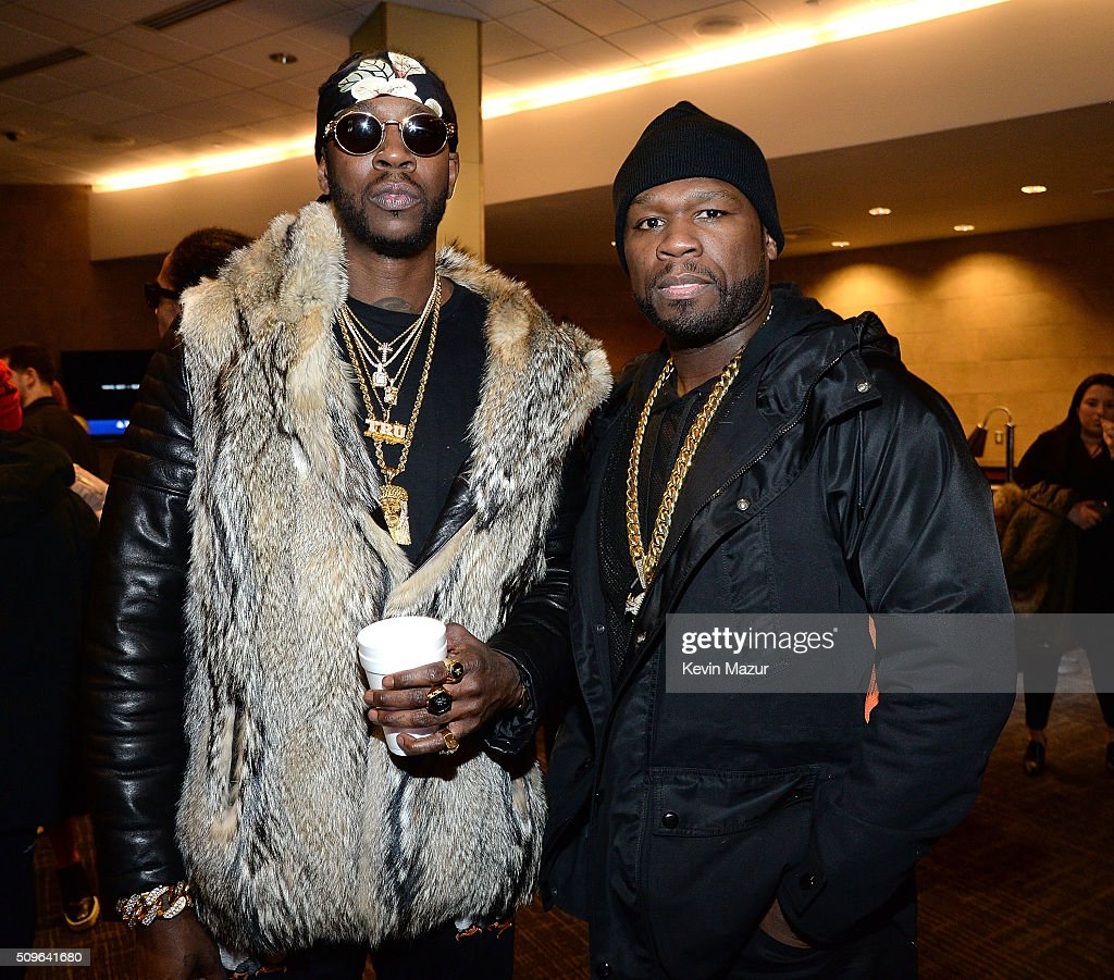 <a gi-track='captionPersonalityLinkClicked' href=/galleries/search?phrase=2+Chainz&family=editorial&specificpeople=8559144 ng-click='$event.stopPropagation()'>2 Chainz</a> and <a gi-track='captionPersonalityLinkClicked' href=/galleries/search?phrase=50+Cent+-+Rapper&family=editorial&specificpeople=215363 ng-click='$event.stopPropagation()'>50 Cent</a> attend Kanye West Yeezy Season 3 at Madison Square Garden on February 11, 2016 in New York City.