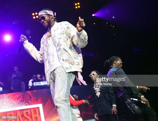 Chainz performs with Takeoff and Offset of Migos during the Hot 1079 Birthday Bash at Philips Arena on June 17 2017 in Atlanta Georgia