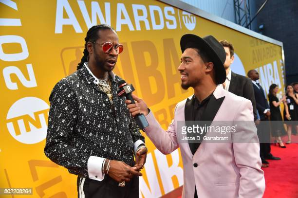 Chainz speaks to the media as he arrives on the red carpet during the 2017 NBA Awards Show on June 26 2017 at Basketball City in New York City NOTE...