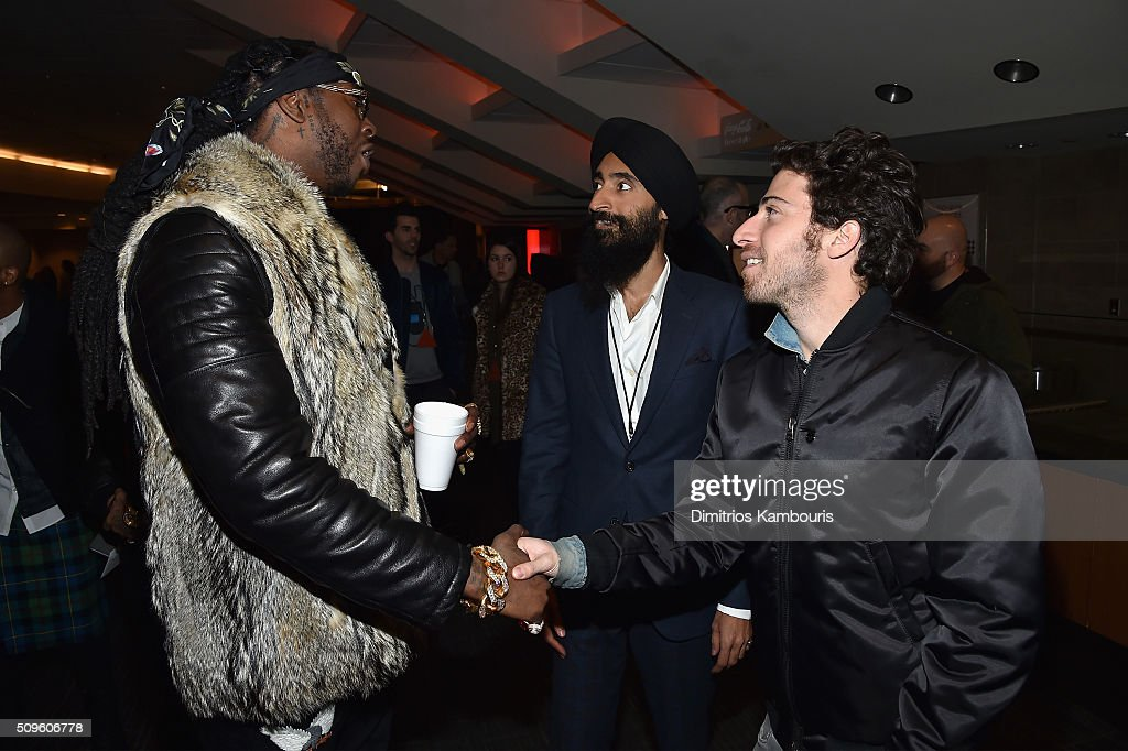 <a gi-track='captionPersonalityLinkClicked' href=/galleries/search?phrase=2+Chainz&family=editorial&specificpeople=8559144 ng-click='$event.stopPropagation()'>2 Chainz</a>, <a gi-track='captionPersonalityLinkClicked' href=/galleries/search?phrase=Waris+Ahluwalia&family=editorial&specificpeople=887610 ng-click='$event.stopPropagation()'>Waris Ahluwalia</a> and <a gi-track='captionPersonalityLinkClicked' href=/galleries/search?phrase=Jake+Hoffman&family=editorial&specificpeople=565940 ng-click='$event.stopPropagation()'>Jake Hoffman</a> attend Kanye West Yeezy Season 3 on February 11, 2016 in New York City.