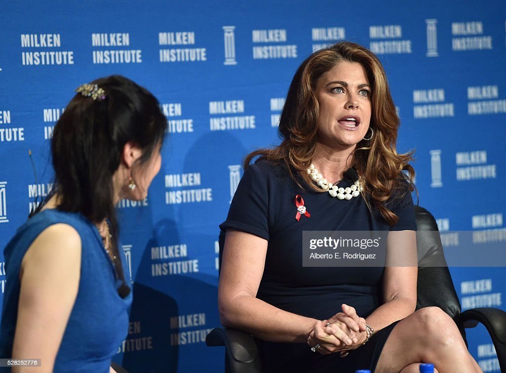 Chair, CEO and Chief Designer kathy ireland Worldwide, Kathy Ireland (R) and co-founder, FullSky Capital/author Sheryl WuDunn speak onstage at the 2016 Milken Institute Global Conference on May 04, 2016 in Beverly Hills, California.
