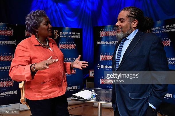 Chair Donna Brazile appears with host Mark Thompson before a 'Leading Ladies' discussion at SiriusXM studios on October 17 2016 in Washington DC