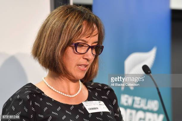 Chair Farah Palmer speaks during the New Zealand Maori Rugby Board AGM at New Zealand Rugby House on April 26 2017 in Wellington New Zealand
