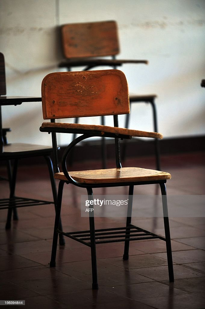 A chair in a classroom at the National Autonomous University of Nicaragua (UNAN) in Managua on November 14, 2012. AFP PHOTO/Hector RETAMAL