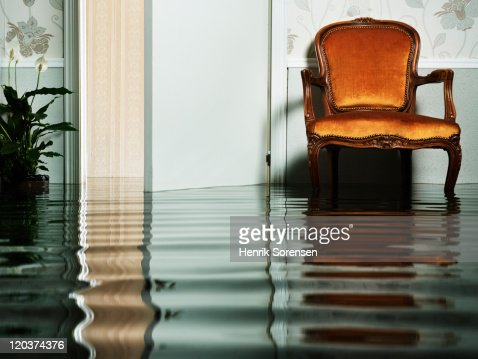 chair in flooded living room