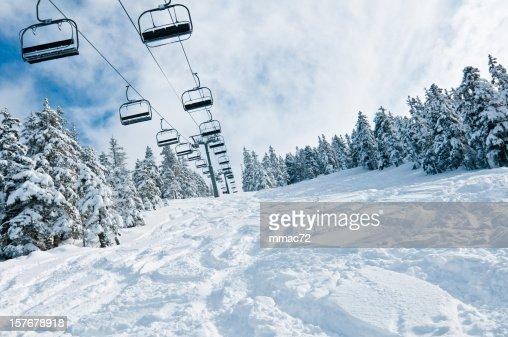 Chair lift in Snowy Winter Landscape