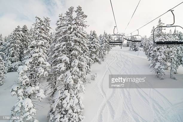 Chair lift in Snowy Winter Landscape