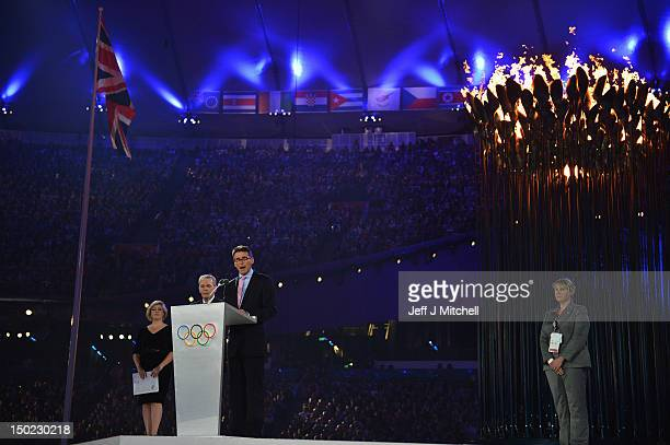 Chair Lord Sebastian Coe makes a speech during the Closing Ceremony on Day 16 of the London 2012 Olympic Games at Olympic Stadium on August 12 2012...