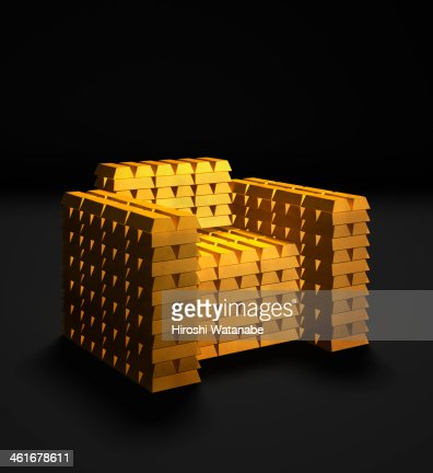 Chair made of  gold bars : Stock Photo