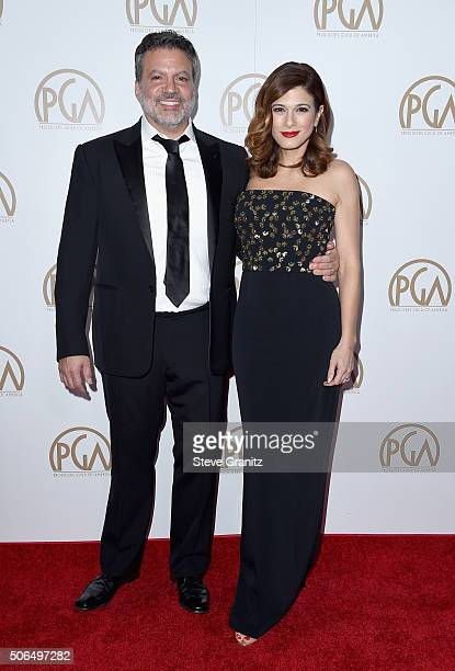 Chair Michael De Luca and Angelique De Luca attend the 27th Annual Producers Guild Awards at the Hyatt Regency Century Plaza on January 23 2016 in...