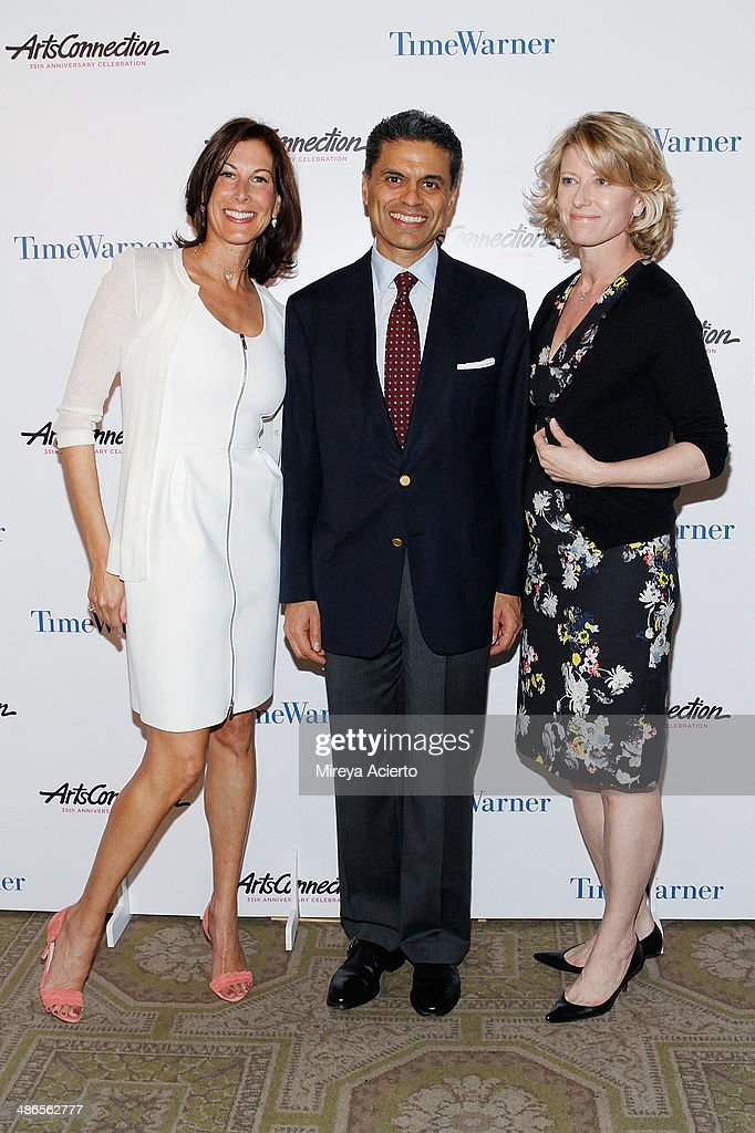 Chair of ArtsConnection Lisa Plepler, Paula Zakaria and journalist/news anchor Fareed Zakaria attend the ArtsConnection 35th Anniversary Spring Benefit at 583 Park Avenue on April 24, 2014 in New York City.