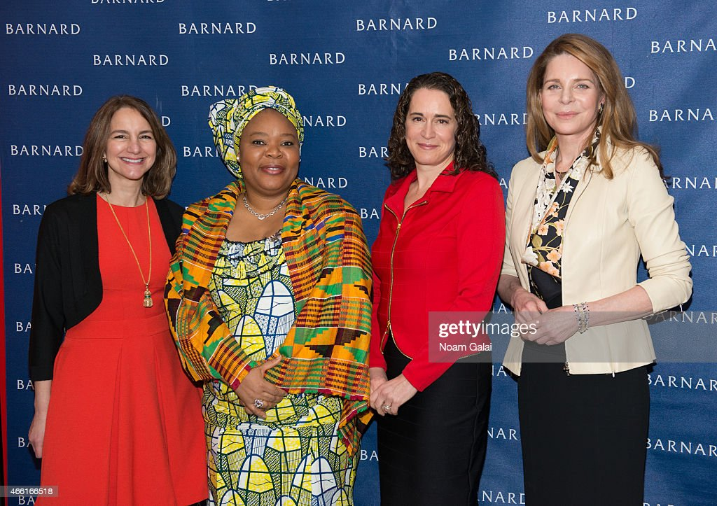 Chair of Board of Trustees at Barnard College Jolyne CarusoFitzGerald activist and Nobel Peace Prize Winner Leymah Gbowee President of Barnard...