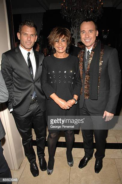 Chair of Fashion Cares Michael King Singer Dame Shirley Bassey and David Furnish attend the 2008 Fashion Cares Cocktail Reception at the Windsor Arms...