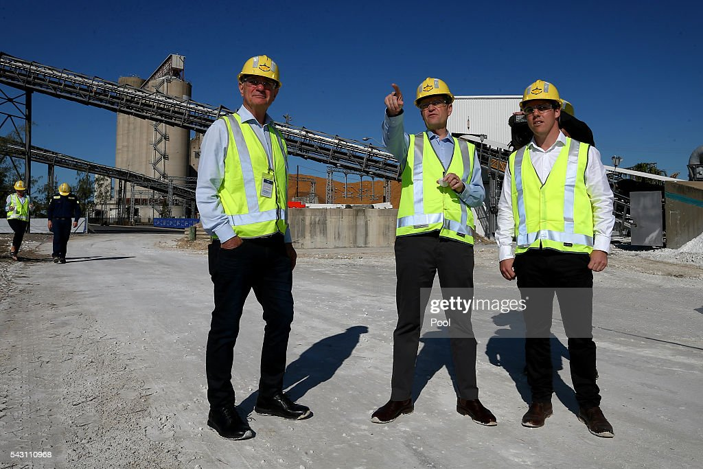 Chair of Gladstone Ports Corporation Leo Zussino (left) meets with Opposition Leader Bill Shorten (centre) and ALP candidate for Flynn, Zac Beers (right), during a visit to the Gladstone Ports Corporation's Auckland Point Terminal, on June 26, 2016 in Gladstone, Queensland. Shorten continues to campaign leading up to the July 2nd elections.