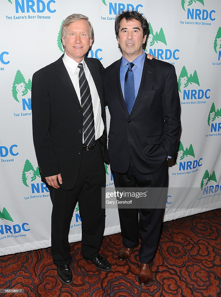 Chair of Green Sports Alliance Scott Jenkins (L) and NRDC Director of Green Sports Project Allen Hershkowitz attend the 2013 National Resource Defense Council Game Changer Awards at the Mandarin Oriental Hotel on March 14, 2013 in New York City.