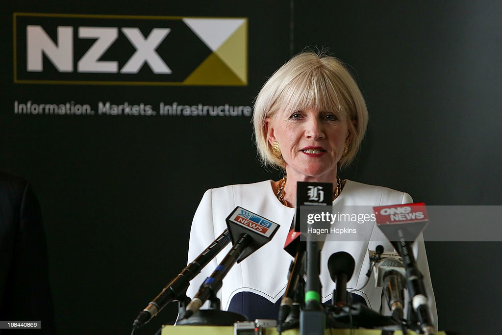 Chair of Mighty River Power, Joan Withers, talks during the listing of Mighty River Power at NZX on May 10, 2013 in Wellington, New Zealand. Mighty River Power is one of several state owned enterprises being partially sold by the Government to raise capital.