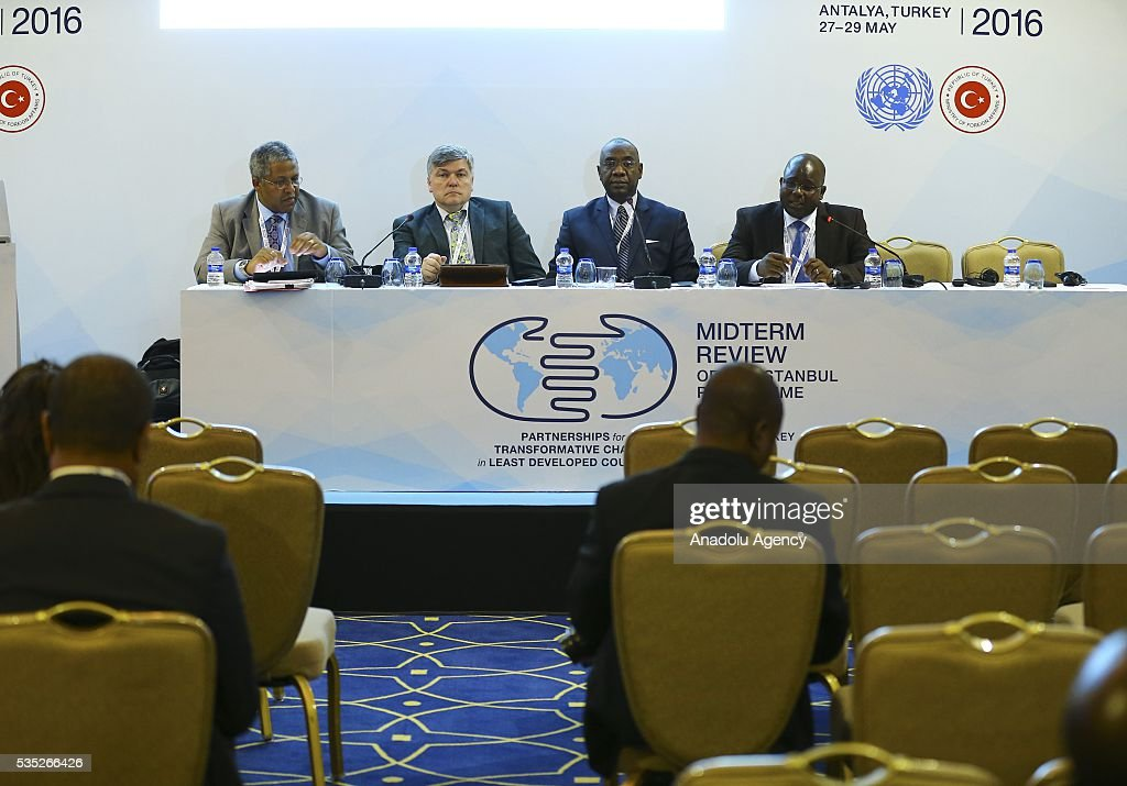 UNFCCC, Chair of Subsidiary Body for Implementation, Tomasz Chruszczow (L 2), Senior officer of Ministry of Environment and Forest Resources of Togo, Abiziou Paul Tchinguilou (R) and United Nation Framework Convention on Climate Change Secretariat (UNFCCC), Paul Desanker (L) attend the 'Climate Change in the Least Developed Countries' session as part of the Istanbul Programme of Action for the Least Developed Countries in Antalya, Turkey on May 29, 2016.