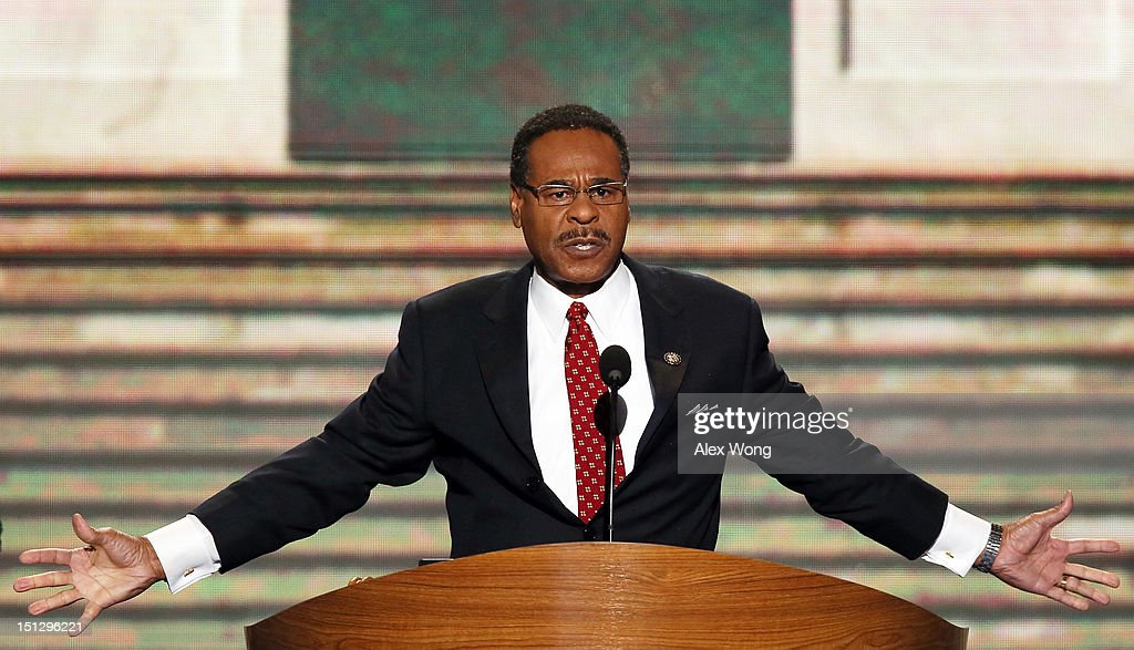 Chair of the Congressional Black Caucus, U.S. Rep. <a gi-track='captionPersonalityLinkClicked' href=/galleries/search?phrase=Emanuel+Cleaver&family=editorial&specificpeople=754349 ng-click='$event.stopPropagation()'>Emanuel Cleaver</a>, II (D-MO) speaks during day two of the Democratic National Convention at Time Warner Cable Arena on September 5, 2012 in Charlotte, North Carolina. The DNC that will run through September 7, will nominate U.S. President Barack Obama as the Democratic presidential candidate.