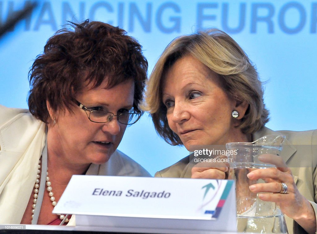 Chair of the European Parliament's Economic and Monetary Affairs Committee Sharon Bowles (L) and Spanish Finance Minister Elena Salgado (R) chat as they attend the Brussels Economic Forum on May 25, 2010 at the EU headquarters in Brussels. The Spanish government shares the analysis of the economic challenges facing Spain issued on May 24 by the IMF, which called for 'urgent' labour and banking sector reforms, the finance ministry said.