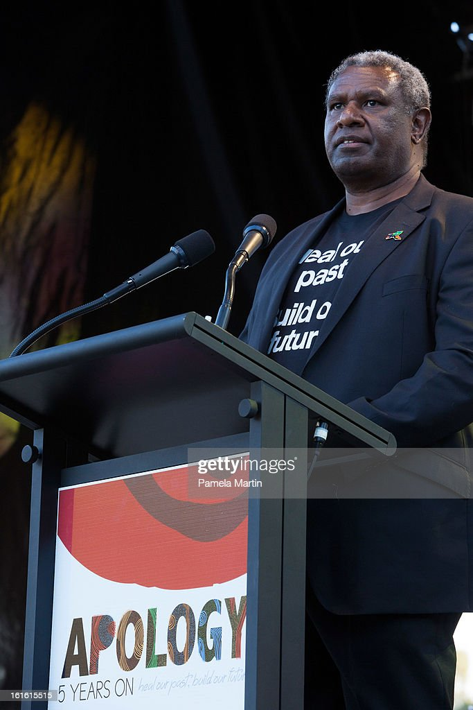 Chair of The Healing Foundation, Charles Pasi speakes on stage during 'The Apology - Five Years On - Heal our Past, Build our Future' at Federation Mall on February 13, 2013 in Canberra, Australia.