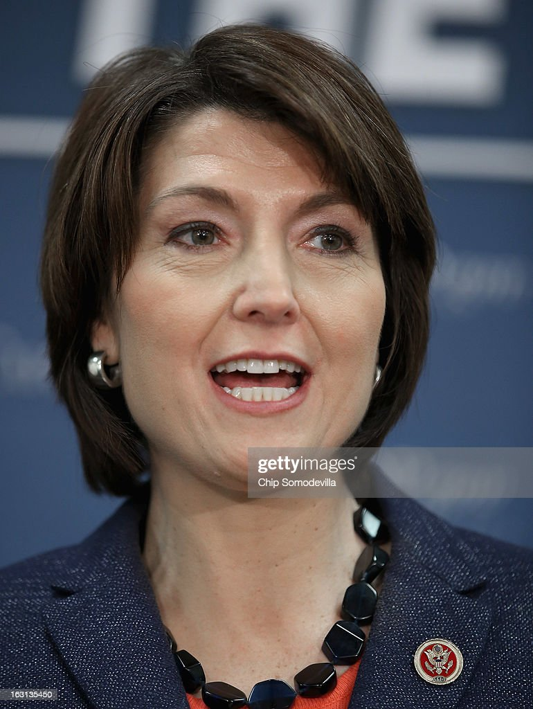 Chair of the House Republican Conference Rep. Cathy McMorris Rodgers (R-WA) speaks during a news conference following the weekly House Republican caucus meeting at the U.S. Capitol March 5, 2013 in Washington, DC. With the budget sequester now in effect, Speaker of the House John Boehner (R-OH) and his party in the House are now focusing on fighting against new taxes and rolling back the federal budget.