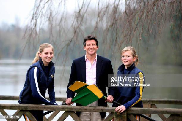 Chair of the London Organising Committee of the Olympic Games Lord Sebastian Coe talks to local junior rowers 12yearold Sasha Quarrington and...
