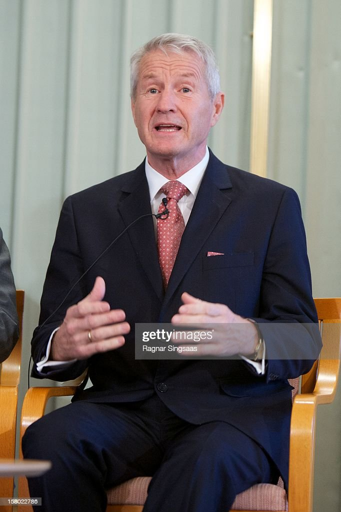 Chair of the Nobel Committee Thorbjoern Jagland talks to the media at the press conference ahead of the Nobel Peace Prize on December 9, 2012 in Oslo, Norway.