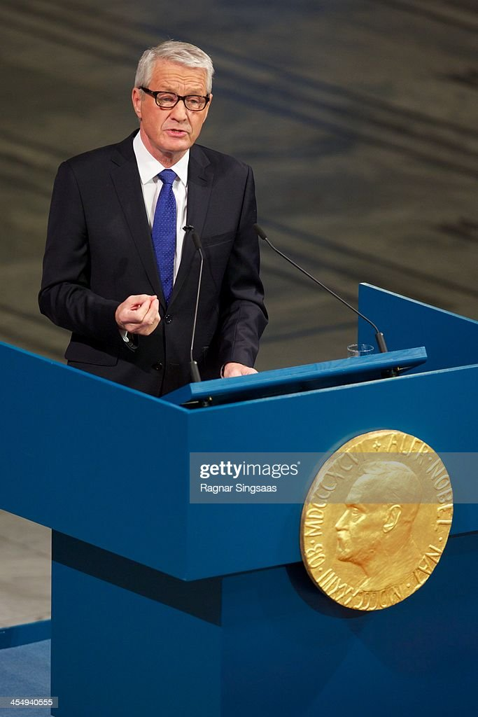 Chair of the Nobel Committee <a gi-track='captionPersonalityLinkClicked' href=/galleries/search?phrase=Thorbjorn+Jagland&family=editorial&specificpeople=862853 ng-click='$event.stopPropagation()'>Thorbjorn Jagland</a> speaks during the Nobel Peace Prize awards ceremony on December 10, 2013 in Oslo, Norway.