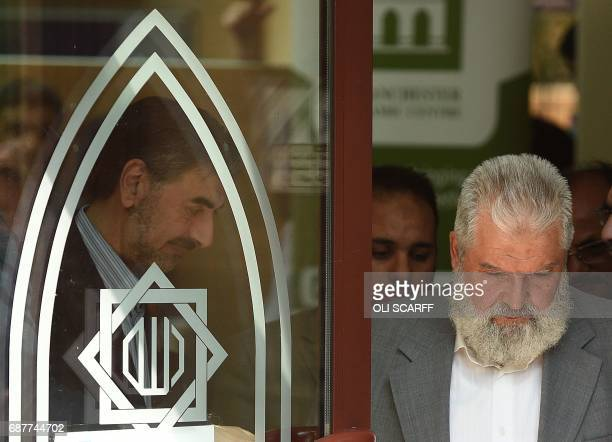 Chair of Trustees at the Manchester Islamic Centre and Didsbury Mosque Mohammad El Khayat exits Didsbury Mosque in Didsbury Manchester northwest...